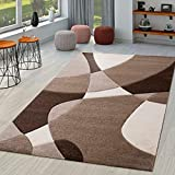 TT Home Alfombra De Salón Moderna Motivo Abstracto Perfil Contorneado Marrón Beige Crema, Größe:60x110 cm