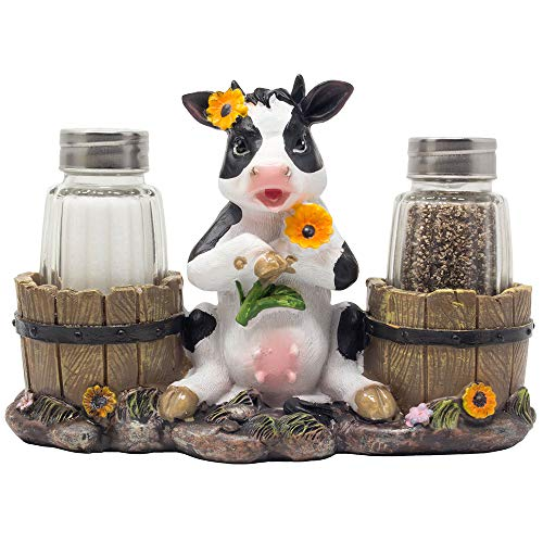 Decorative Holstein Cow Salt and Pepper Shaker Set with Old Fashioned Water Pails Holder Figurine in Farm Animal Decorations As Spice Racks and Rustic Country Kitchen Décor Or Gifts for Farmers