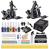 HAWINK Tattoo Complete Tattoo Kit for Beginners Tattoo Power Supply Kit 7 Tattoo Ink set 50 Tattoo Needles 2 Pro Tattoo Machine Kit Tattoo Supplies TK-HW2002