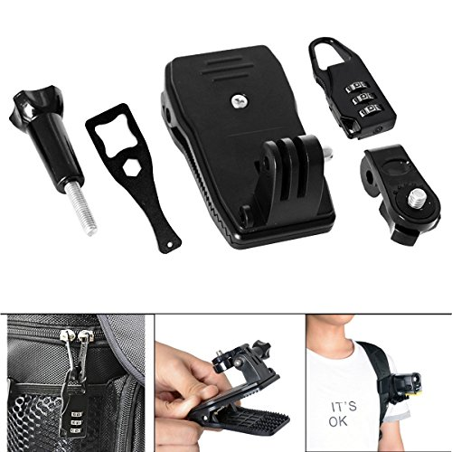 Fantaseal Action Camera Clamp Mount Kit 360 Degree Rotary Clip w/Safety Zipper Lock Backpack Bag Clips Mount Accessories Compatible with Sony FDR X1000VR X3000R HDR AS-10/15/ 20/30 etc