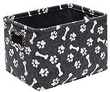 Xbopetda Dog Toy Box, Felt Dog Toy Basket with Metal Bone-Shaped Handles - Foldable Storage Bin for Pet Toys, Blankets, Leashes & Treats-Gray