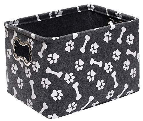 Geyecete Caja de juguetes para perros de almacenamiento de fieltro grande cestas cestas para mascotas impresión, caja de juguetes para perros grande con mango de metal diseñado en forma de hue