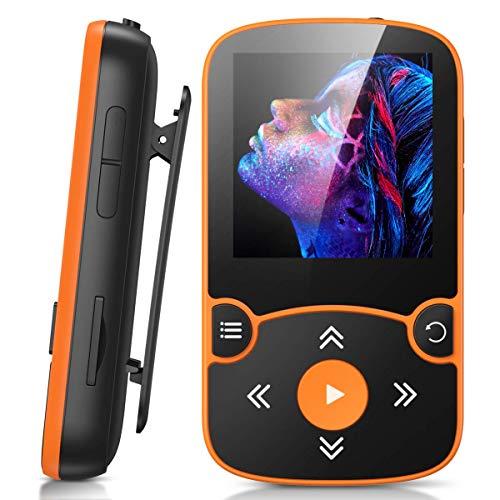 AGPTEK MP3 Player Bluetooth 5.0 Sport 32GB mit 1,5 Zoll TFT Farbbildschirm Mini Musik Player mit Clip, Unterstützt bis 128GB SD Karte, mit unabhängiger Lautstärketaste,Orange