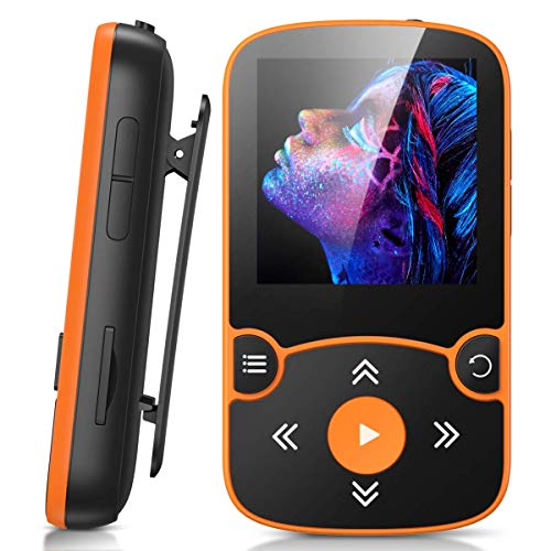 AGPTEK MP3 Player Bluetooth 5.0 Sport 32GB mit 1,5 Zoll TFT Farbbildschirm Mini Musik Player mit Clip, Unterstützt bis 128GB SD Karte, mit unabhängiger Lautstärketaste,Orange