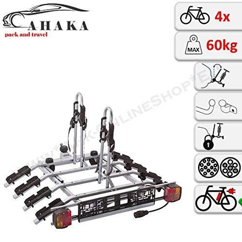 AHAKA Fahrradträger Anhängerkupplung für 4 Fahrräder Heckträger AHK Fahrradheckträger - klappbar mit Schnellkupplung