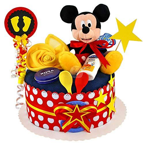 MomsStory - Windeltorte Junge | Mickey Mouse Disney | Baby-Geschenk zur Geburt Taufe Babyshower | 1 Stöckig (Rot-Schwarz-Gelb) mit Kuscheltier Lätzchen Schnuller & mehr