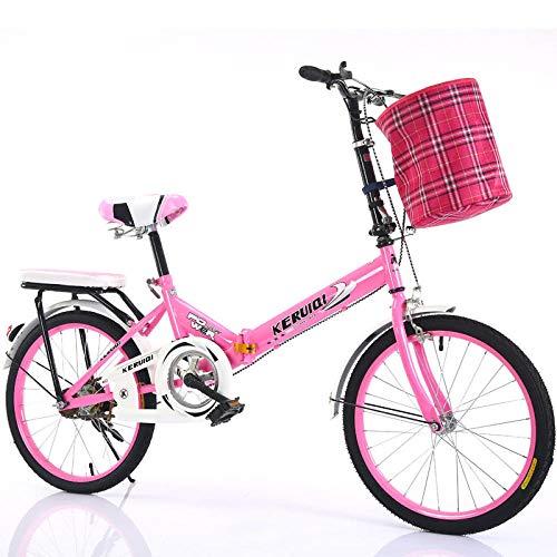 LSBYZYT Bicicleta Plegable, Bicicleta Ultraligera de 20 Pulgadas, Bicicleta portátil para Adultos-Rosado_Incluye Cesta para Bicicletas