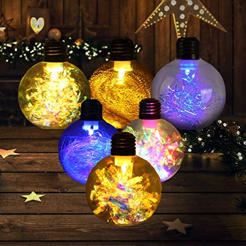 3.2 inch Christmas Ball Ornaments LED Xmas Tree Baubles Decorations DIY Transparent Light Up Plastic Clear Hanging Decor for Festival Party (6 Pack)