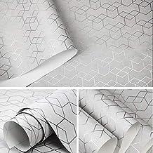 MUMUWU Geometric Wallpaper Roll Black Gray Wall Paper Modern Design Bedroom Living Room Background Home Wall Decor (Color...