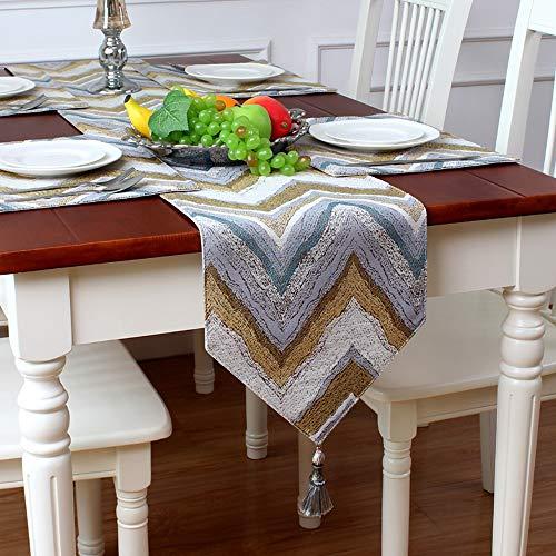 Eenvoudig Gestreept Katoen en Linnen Tafelloper, met Gevlochten Tafeldoek, Huisdecoratie voor Eettafel|TV-kast|Bruiloft | Diner|Gift 30x160cm Goud