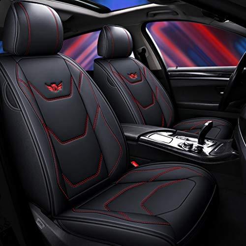 Auto sitzbezüge Universal Autositzbezug Full Set Wasserdichte PU Leder Auto Sitzkissen Schutz for Audi A3 / A4 / A5 / A6 / A8 / Q3 / Q5 / RS4 (Farbe : Black+red line)
