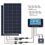 XINPUGUANG Kit de panel solar de 300 W y 12 V, 2 x 150 vatios, 18 V, módulo solar monocristalino de vidrio, controlador de carga solar de 30 A para yates, hogar, carga de batería de 12 V