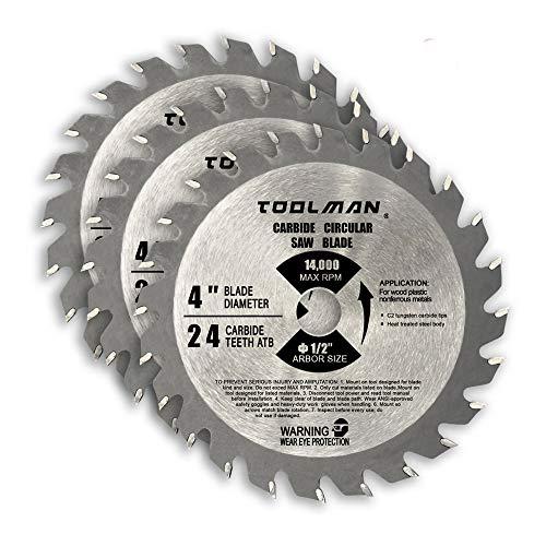 Toolman - Hoja de sierra circular (ajuste universal, 10,16 cm) para trabajos de corte de madera y plástico con DeWalt Makita Ryobi S010101