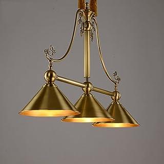 Viqie Chandelier Copper Lamp All Copper Chandeliers Creative Simple Copper Restaurant Billiard Billiard Lamp Three Rectang...