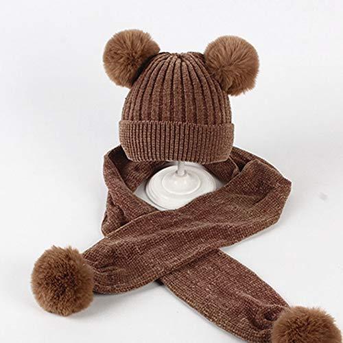 Egurs kinder baby wintermuts sjaal set Chenille gebreide muts beanie hoeden