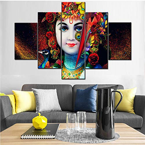 Art Work for Home Walls Indian Paintings 5 Pcs/Multi Panel Canvas Art Radha Krishna Pictures Hindu God Artwork Black Red Home Decor for Living Room Framed Ready to Hang Posters and Prints(60''Wx40''H)