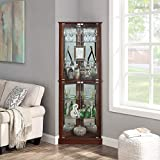 BELLEZE Woody Lighted Corner Curio Cabinet Tempered Glass Door 6 Shelves, Walnut