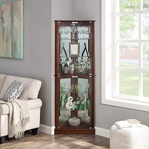 BELLEZE Woody Lighted Corner Curio Cabinet Tempered Glass Door 6 Shelves, Walnut