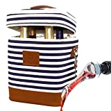 HAMILO 4 Bottle Wine Tote and Wine Aerator Set (Stripe) - Insulated Champagne Cooler Purse with Wine Pourer, Wine bag with Wine Decanter Spout, Wine Accessory Gift Set for Wine Lovers, Wine Picnic set