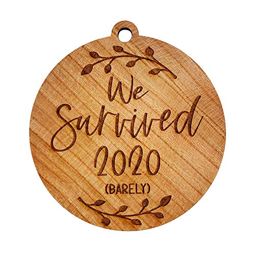 Funny COVID/Quarantine Christmas Ornament - We Survived 2020 (Barely) - Includes Gift Box and Ribbon for Hanging (We Survived (Barely))