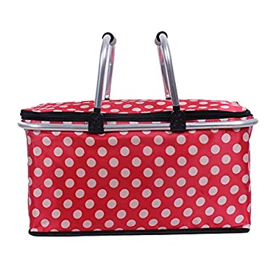 CYKJ Double Hands Large Size Picnic Basket Insulated- Strong Aluminum Frame -Waterproof Lining - Collapsible Design for Easy Storage - Take it Camping, Picnicking-dot