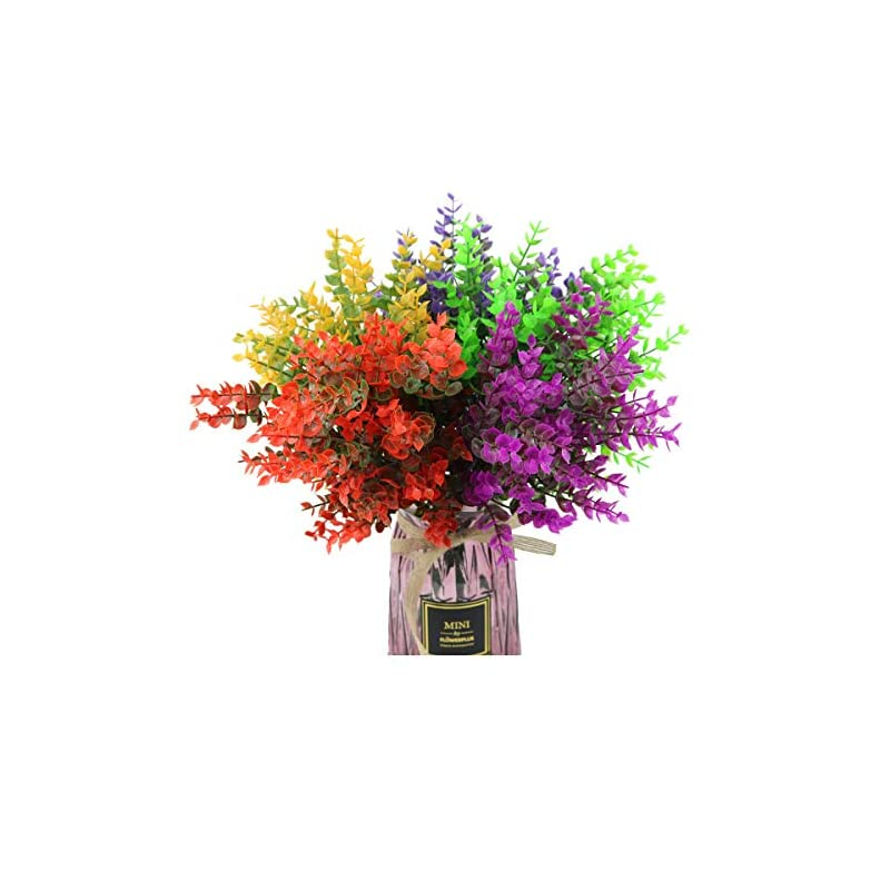 silk flower arrangements lucky snail artificial flowers(pack of 5), artificial farmhouse greenery boxwood plant stems fake flowers outdoor for farmhouse,home,garden,office,patio,wedding and indoor outdoor decoration(5colors).