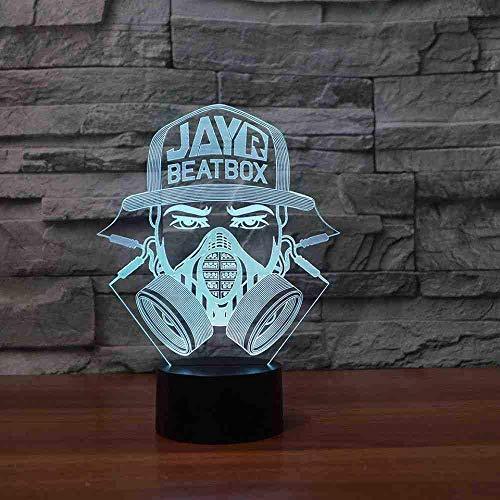 3D LED 7 kleur veranderende lichtgevende brandweerman masker modellering lamp USB nachtverlichting creatieve wooncultuur kinderen tafellamp