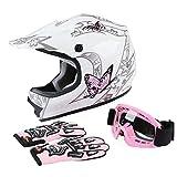 SLMOTO Youth Kids Motocross DOT Approved Helmet Offroad Street Helmet Motorcycle Helmet Dirt Bike Motocross ATV Pink Butterfly Helmet+Goggles+Gloves