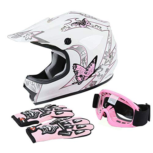 TCMT Pink Butterfly Youth Kids ATV Motocross Offroad Street Dirt Bike Motorcycle Helmet Gloves Goggles (S)