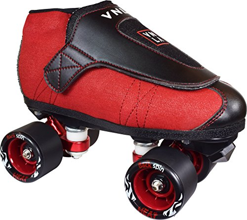 VNLA Code Red Kids/Adult Jam Skates | Quad Roller Skates for Women and Men from Vanilla - Mens/Ladies Womens Indoor Speed Skate Rollerskates for Men Women Boys and Girls Girl (Red, and Black)