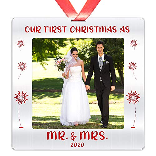 Our First Christmas as Mr & Mrs 2020 Year Dated Christmas Photo Ornament- Just Married Couples Decoration for Xmas- 3 inch Stainless Steel Picture Ornament Keepsake Gift for Newlyweds