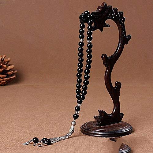 Steinarmband,Naturstein Multi-Layer Perlen Armband Schwarz 33 Naturstein Agate Kristallanhänger Muslimischen Rosenkranz Armband Islamischen Armbänder Personalisierte Kleidung Accessoires Schmuck