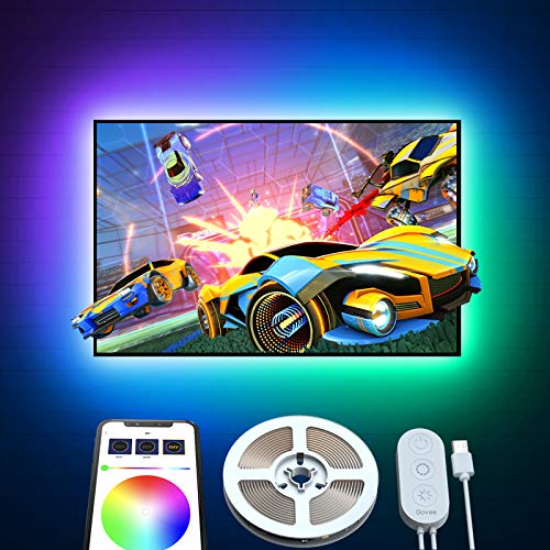 TV LED Backlight Strip, Govee 6.56ft USB RGB LED Light Strips with APP Control, 16 Million Colors Bright 5050 LEDs, 7 Scenes Mode Strip Light for TV PC Monitor Gaming Room
