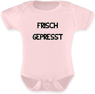 PlimPlom Strampler für Mädchen und Jungen in blau oder rosa - Lustiger Aufdruck Frisch gepresst Fun Kurzarm Baby Body aus Baumwolle - Geschenkidee für jedes Kind zur Geburt