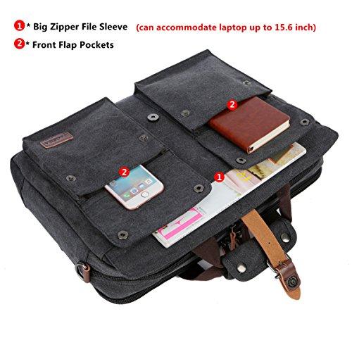 BAOSHA BC-07 17inch Canvas Laptop Computer Bag Messenger Bag Multicompartment Briefcase (Black)