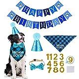 STMK Dog Birthday Bandana, Dog Birthday Party Set, Dog Birthday Boy Bandana Triangle Scarf with Cute Dog Birthday Number Hat Dog Birthday Banner for Dog Birthday Party Supplies (Light Blue)