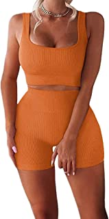Women's Workout Sets 2 Piece Seamless Ribbed High Waist Shorts with Tank Crop Tops Sport Bra Yoga Outfits Tracksuit