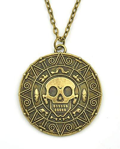 KeySmart Collar con colgante de moneda azteca de Piratas del Caribe.