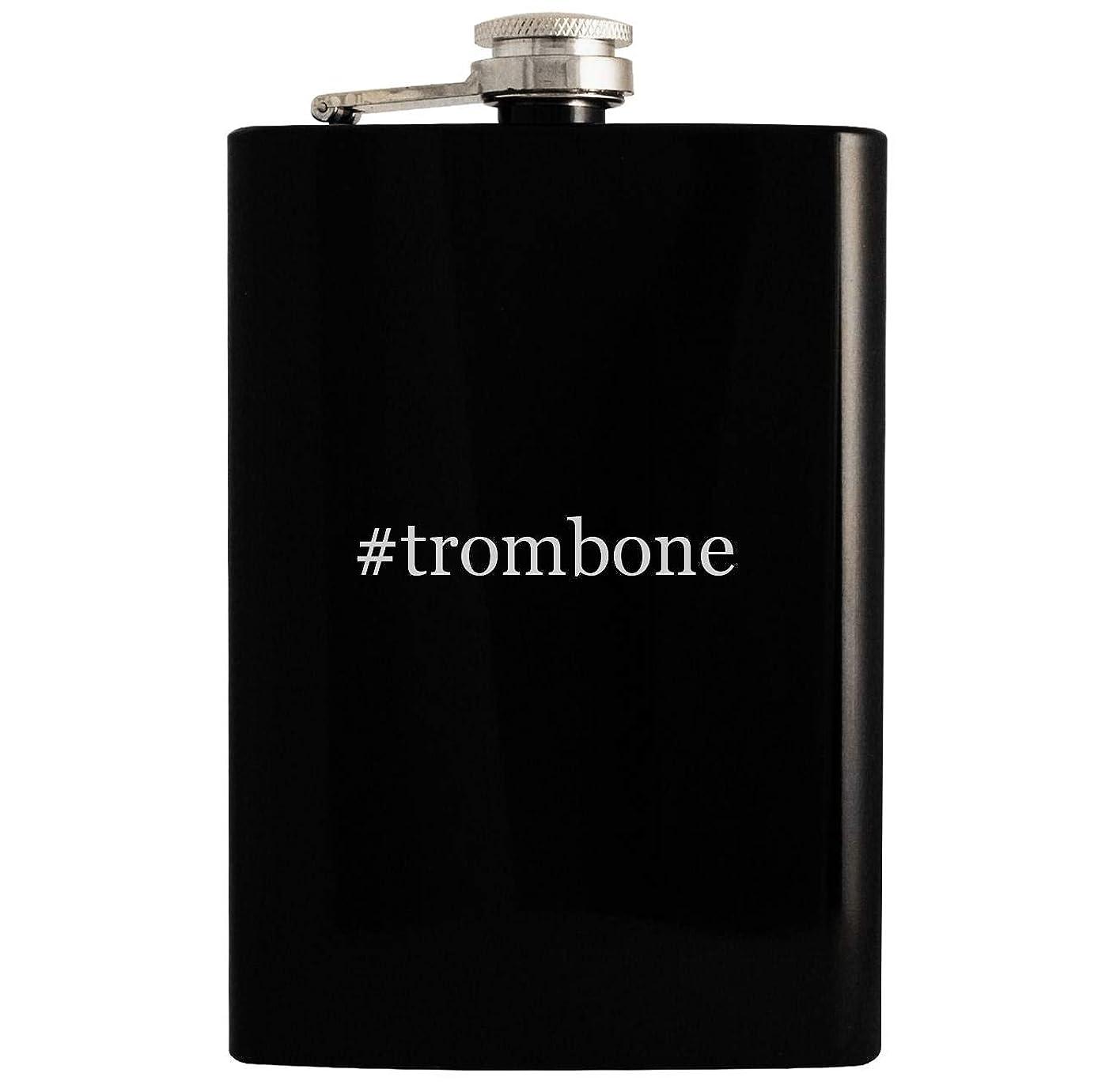 #trombone - 8oz Hashtag Hip Drinking Alcohol Flask, Black