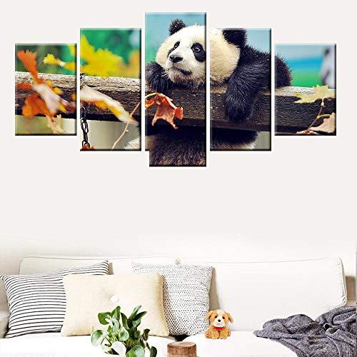 Zqylg Moda Modular Modern HD Print 5 Paneles Ferocious Tiger Animal Canvas Painting Poster para sala de estar Dormitorio Wall Art Mural 30x50 30x70 30x80 Sin marco