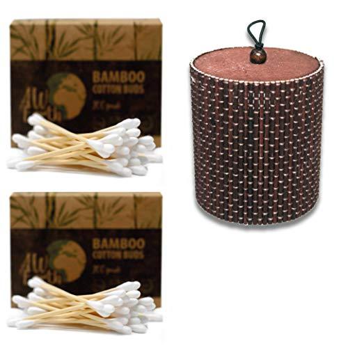 NEU IN DEUTSCHLAND: Wattestäbchen aus Bambus und Baumwolle | Starter Set: 400 Stck. Ohrenstäbchen in Recyclingkarton + Aufbewahrungsdose aus Bambus | 100% kompostierbare Holz-Wattestäbchen