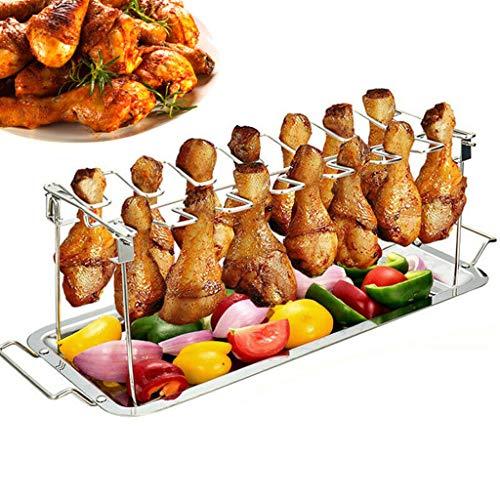 Ouneed - Hähnchenschenkelhalter aus Edelstahl - Big BBQ Chicken Wings Rack bis zu 14 Keulen - zusammenlegbares & platzsparendes Grillzubehör Hähnchenflügel Grillgestell Halter inkl. Auffangschale