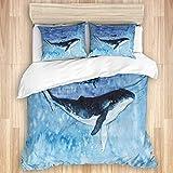 Juego de funda nórdica de 3 piezas, dibujo de acuarela de un buzo y una ballena, juegos de fundas de edredón de microfibra de lujo para dormitorio, colcha con cremallera con 2 fundas de almohada