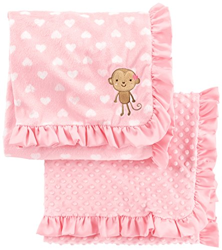 Simple Joys by Carter#039s Baby Girls#039 2Pack Plush Blankets Pink One Size