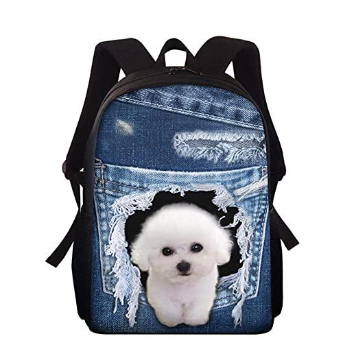 MHIEF Cute Cowboy Pocket Dog Stampa Borse da Scuola Per Bambini,Zaino Per la Scuola da Viaggio Per Bambini E Bambine/15 Pollici