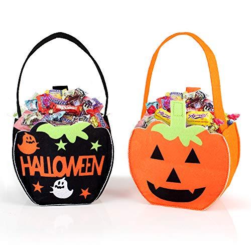 FUNME Halloween Süßigkeitenbeutel Geschenktüten Süßigkeiten-Handtasche für Halloween Candy Tüten Geschenktüten Mitgebsel Partyzubehör 2 Stück