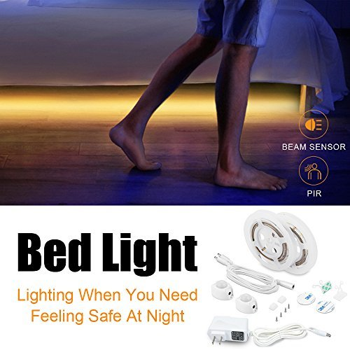 FSJEE Motion Activated Bed Light, Flexible LED Strip Motion Sensor Night Light with Automatic Shut Off Timer for Bedroom/Cabinet/Stairs/Bathroom Lamp Illumination (Queen Bed)