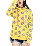 Youth Flying Donut Hoodie Just Right Mark Harajuku Yellow Sweatershirt Unisex Pullover Tag L