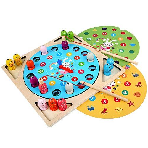 Detazhi Juego de Pesca Tres en uno Reloj Digital de Madera Tablero de Memoria Diversión Juego de Mesa for niños Juguetes educativos de la Primera Infancia Forma Clasificación de Color Rompecabezas