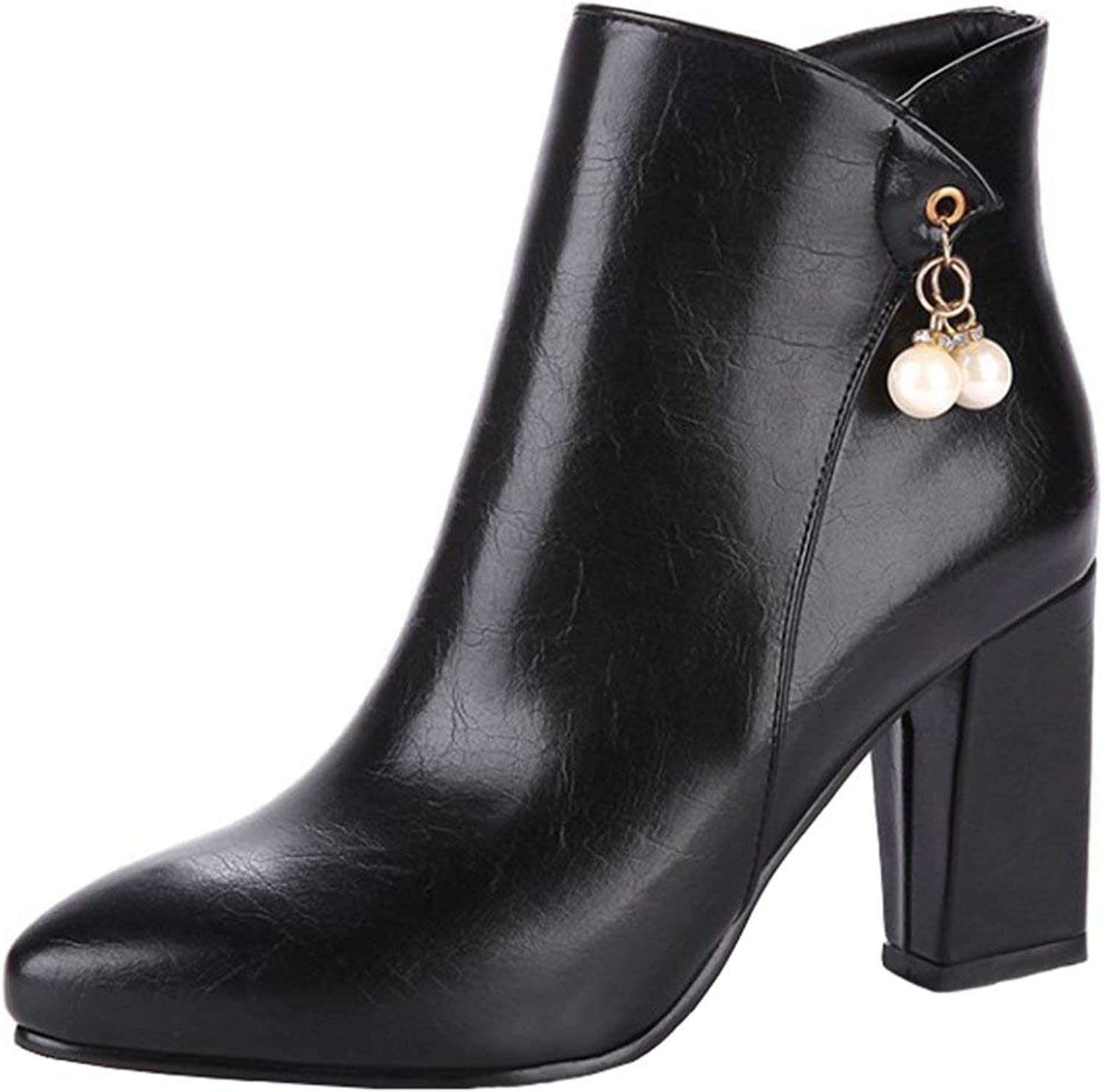 Gedigits Women's Dressy Pendant Side Zipper Ankle Booties Pointed Toe Chunky High Heel Short Boots Black 7.5 M US